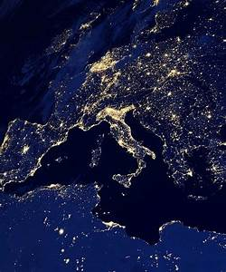 Satellite images of Earth, city lights at night ...
