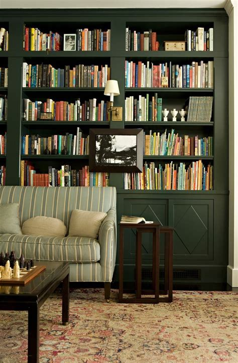 hunter green built  bookcases dark green home library