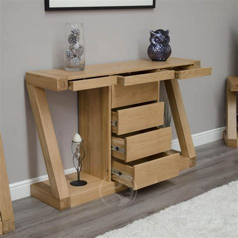 hallway console table with z shape solid oak large hall console table with drawers