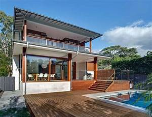 Australian, Home, With, Spotted, Gum, Wood, Details, And, Pool