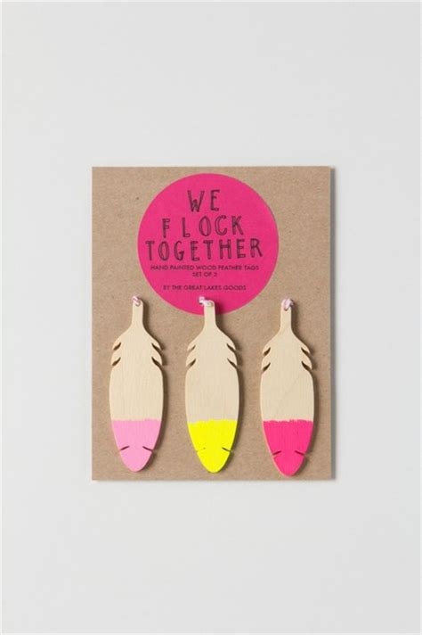 Wooden Feather Gift Tag Set - Eclectic - by Anthropologie