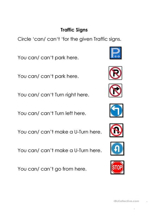 traffic signs english esl worksheets