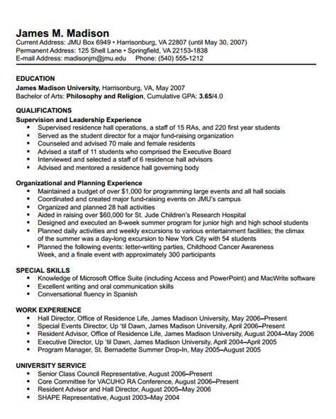 james madison university choosing  resume format