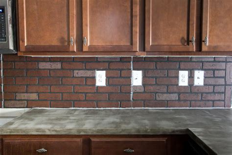Faux Brick Tile Backsplash : Diy Whitewashed Faux Brick Backsplash