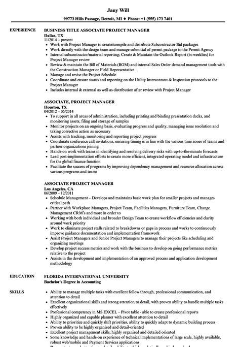 associate project manager resume sles velvet