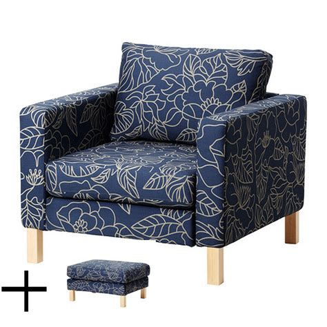 chair and ottoman covers ikea karlstad bladaker blue armchair and footstool