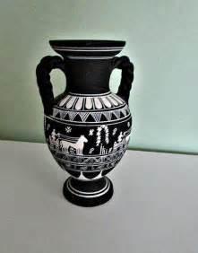 fantastic black  white greek vase  handles hand
