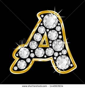 Gold Framed Alphabet Letter A Filled With Diamonds On ...