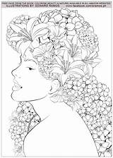 Coloring Nature Pages Stress Adults Anti Ramos Beauty Edward Zen Adult Colorism Justcolor Illustration Print Carnival Drawing Woman Printable Mask sketch template