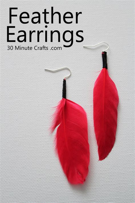 diy feather earrings  minute crafts