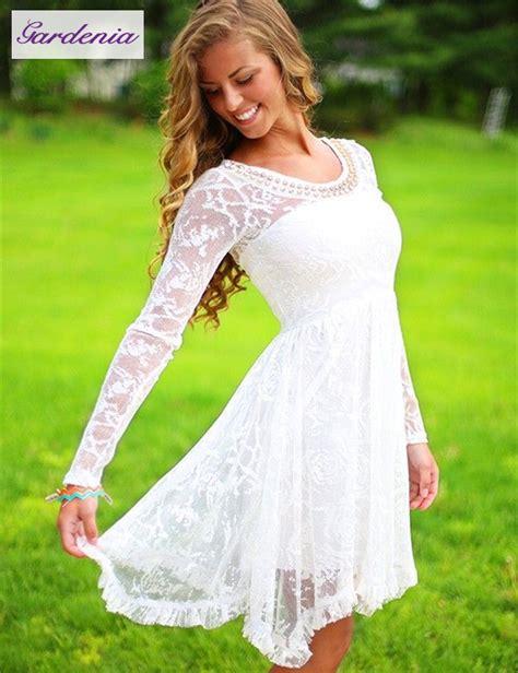 modest   long sleeve white short homecoming sresses