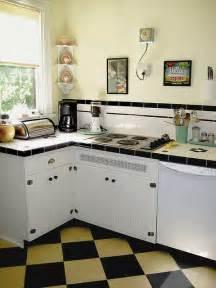 vintage kitchen backsplash 50 39 s kitchen get 39 s a 30 39 s facelift i like the checkerboard on the diagonal the backsplash