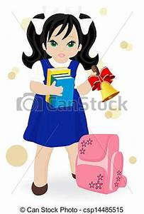 Schoolgirl in blue dress with books and school bags vector ...