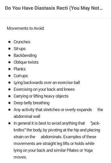 Diastasis rectus - what to avoid | exercise | Diastasis