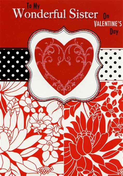 sparkling heart polka dots sister valentines day card