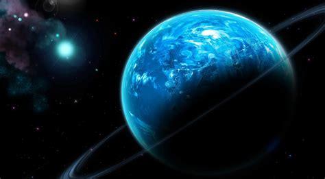 wallpaper blue habitable planet  rings  nebula