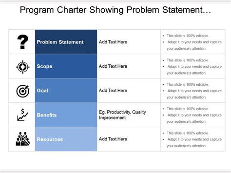 program charter showing problem statement scope goal