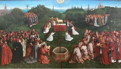 Eyck Jan Anbetung Coxcie Lammes Nach Commons