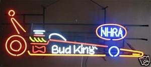 Unique 09 Bud King NHRA Dragster Car Neon Glass Bar Pub