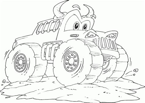 monster trucks coloring pages bull monster truck coloring page coloring com