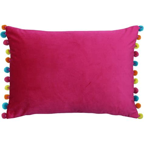rectangular velvet pom pom cushion hot pink