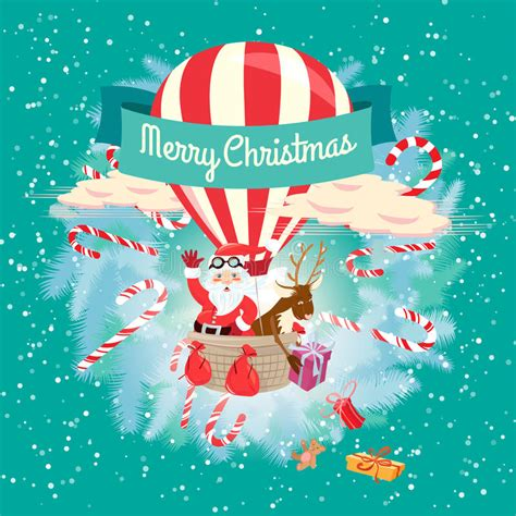 festive merry christmas greeting card with santa claus and his d stock vector image 45463329