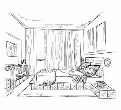 Bedroom Interior Modern Background Vector Drawing Sketch