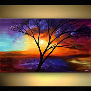 Painting - painting of naked tree on colorful background #5914