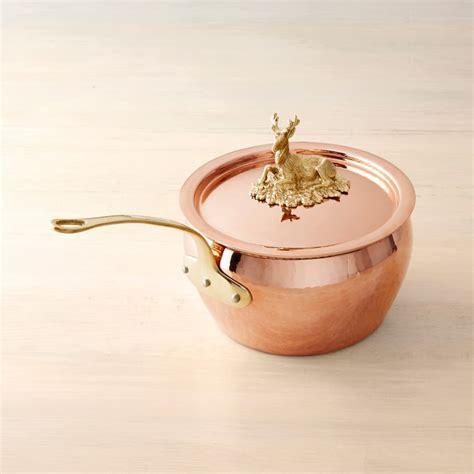 ruffoni historia hammered copper sauce pan  stag knob