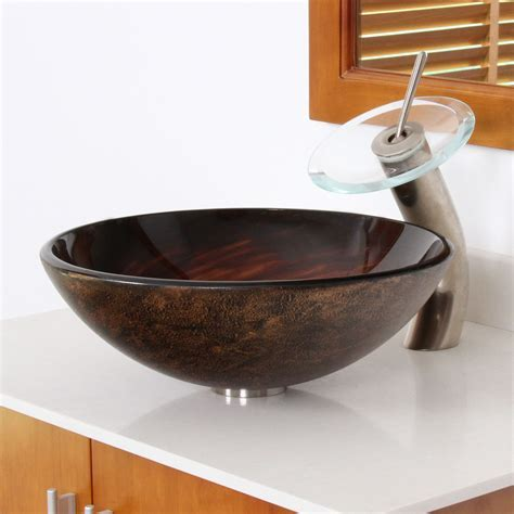 1402 ELITE Modern Design Tempered Glass Bathroom Vessel