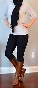 Outfit post grey sweater black skinny jeans black scarf ...