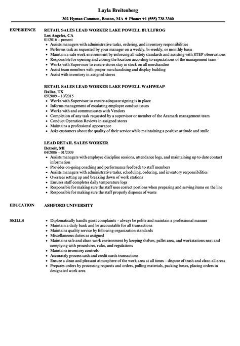 Resume For Retail by Retail Worker Resume Sles Velvet