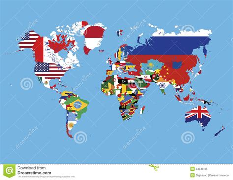 world map colored  countries flags  names stock