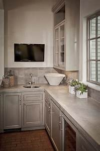 Concrete countertops transitional media room the for What kind of paint to use on kitchen cabinets for concrete wall art
