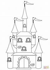 Castle Coloring Fantasy Pages Disney Drawing Fairytale Printable Print Simple Building Castles Game Paper Games Supercoloring Dot Categories Colorings sketch template
