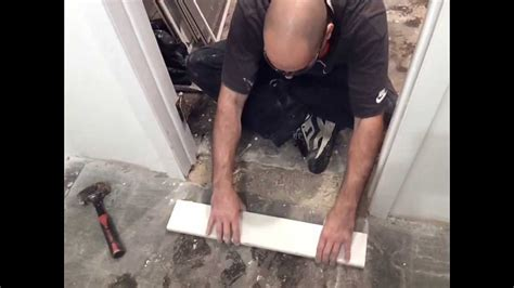 How To Install A Doorway Marble Threshold !! ( BASEMENT