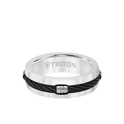7mm titanium ring domed cable inlay center and bevel edge triton jewelry