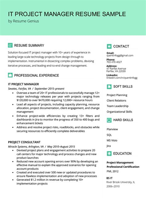 project manager resume sample writing tips
