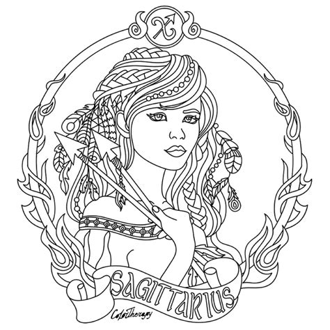sagittarius zodiac beauty colouring page adult