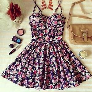 floral, dress, cute, outfit, girl - image #766060 on Favim.com