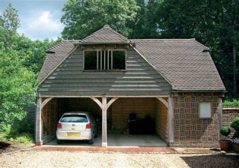 oak frame  bay  storey garages crown oak buildings