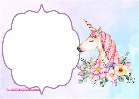 unicorn invitation templates pastel  flower