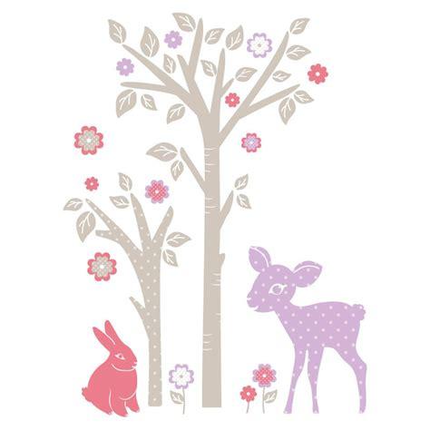 couleur mur chambre ado fille sticker mural quot lapin faon et arbre quot motif enfant fille