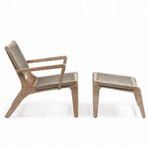 Fauteuil Bois Exterieur : fauteuil de jardin avec repose pied en bois basneti by drawer ~ Melissatoandfro.com Idées de Décoration