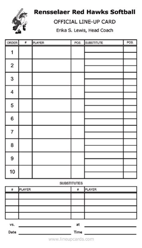Softball Batting Order Template by Softball Lineup Sheets Sle Baseball Roster Template
