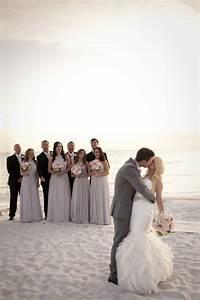 A glamorous silver blush beach wedding every last detail for Beach wedding party dresses