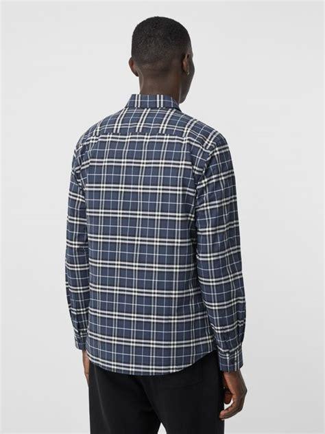 small scale check stretch cotton shirt  dark navy men burberry canada