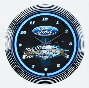 """Powered By Ford"" Neon Clock Free Shipping on Orders"