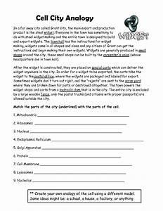 Worksheets. Cell City Analogy Worksheet Answers ...