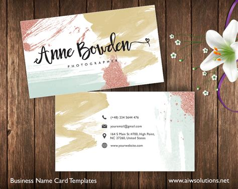girly business cards templates free create your own business card glitter water color